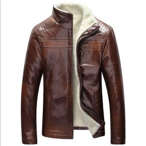 Other - Fleece-Lined Brown Leather Jacket